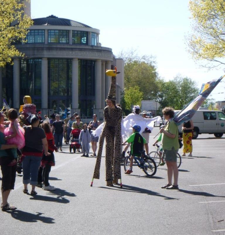 procession of the species bellingham whatcom tourism giraffe