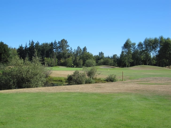 View down the fairway to the first green.