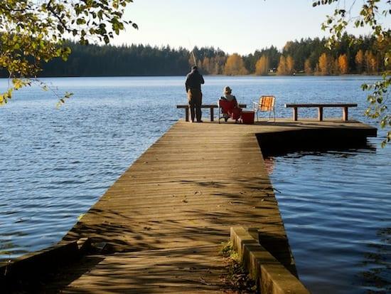 Fishing off the dock at Lake Padden
