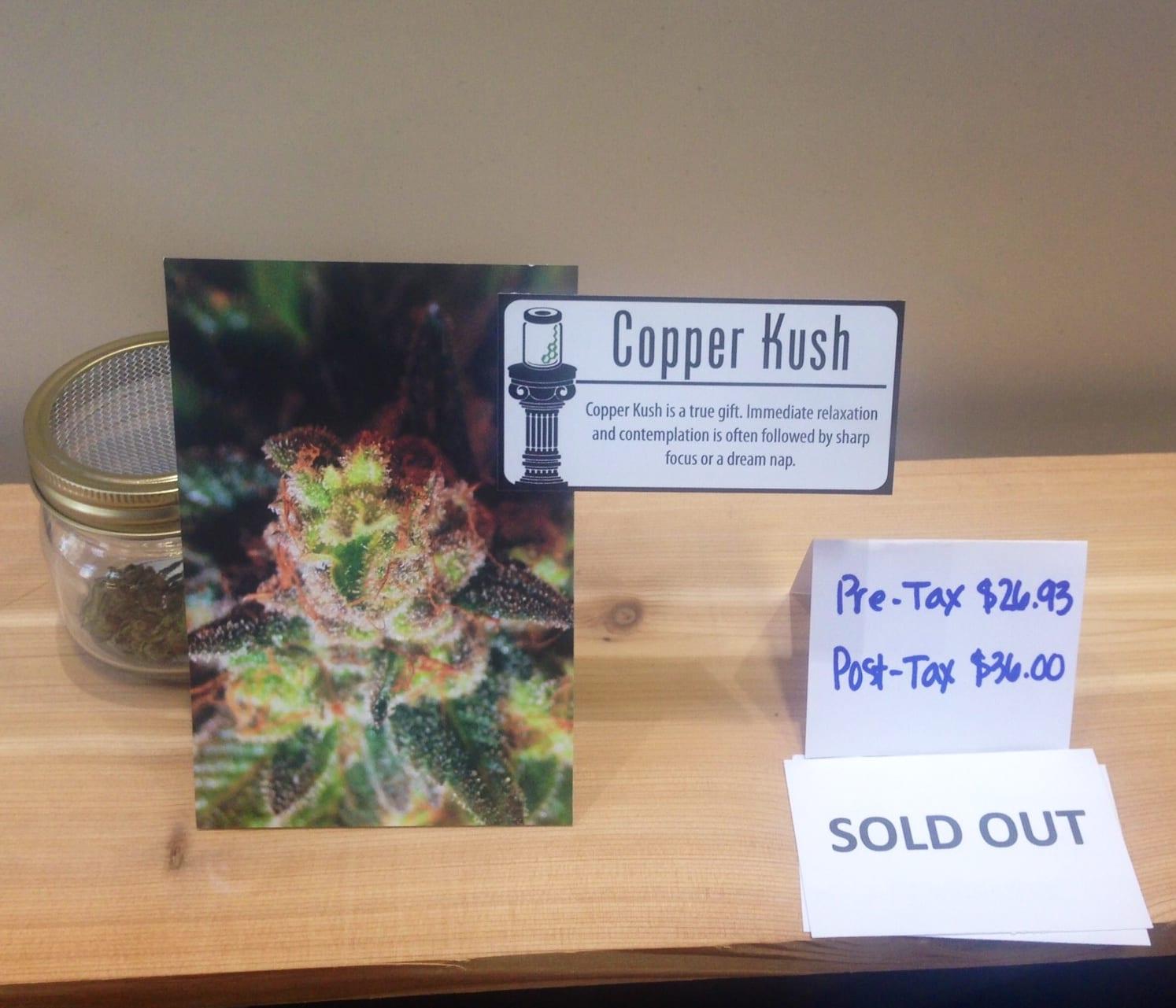 Marijuan Display label Copper Kush