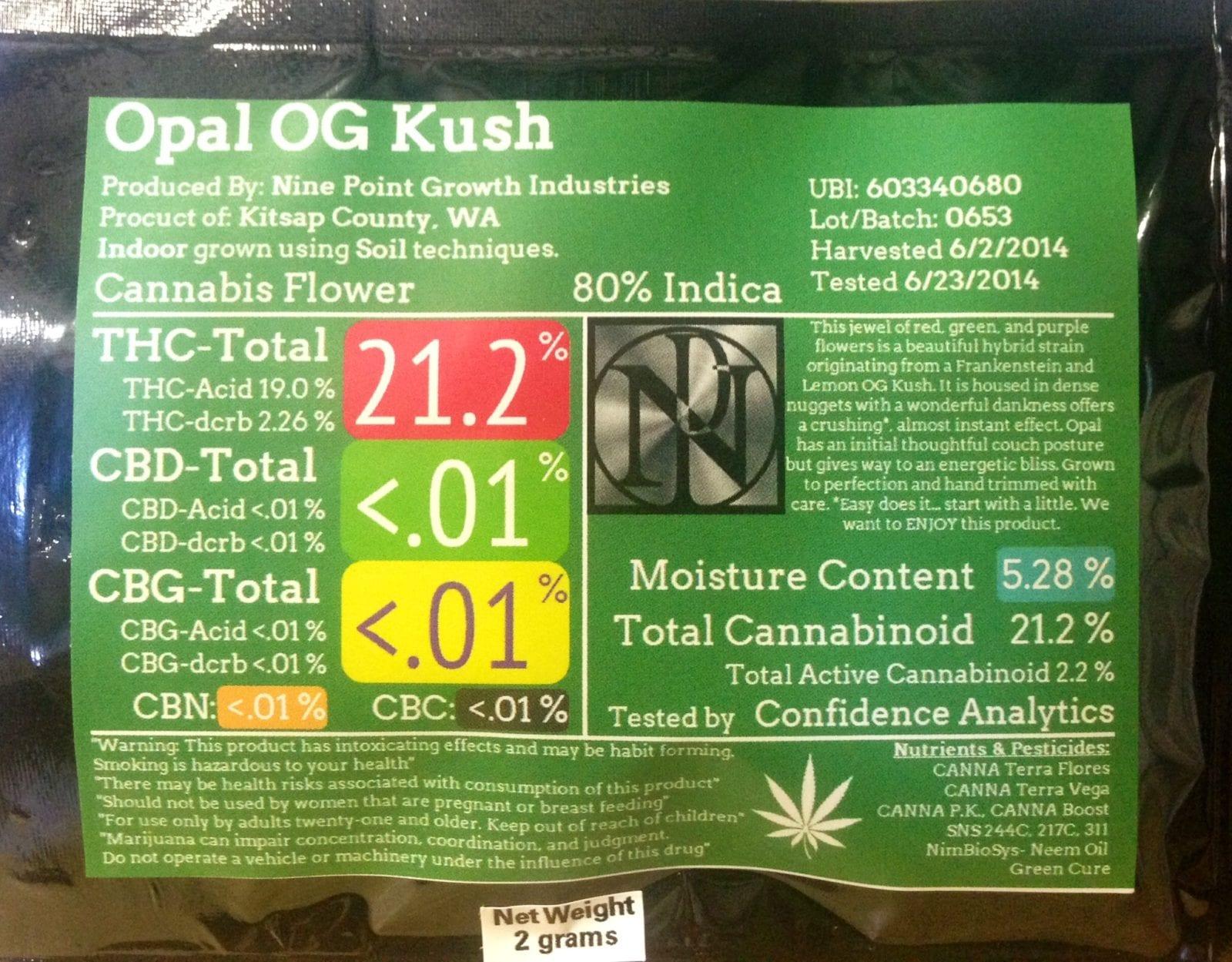 Marijuana Label WA state