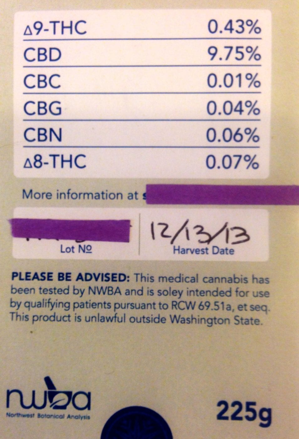Label high in CBD