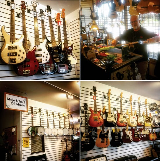 Top: Electric guitars, Steven doing a little repair work. Bottom: banjos and more guitars.