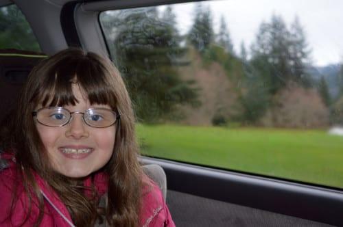 Happy girl on a Sunday drive, Whatcom County