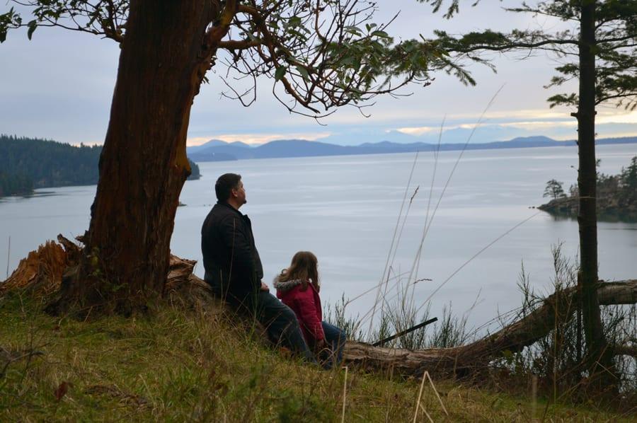 Dad & daughter enjoy view