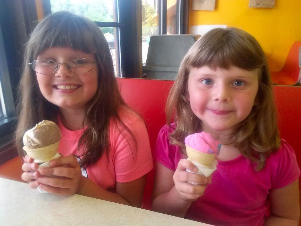 Girls enjoy ice cream cones at Lafeens, Bellingham