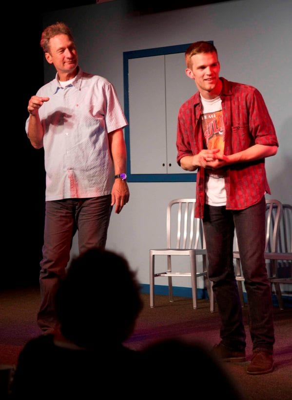 Ryan Stiles (L) performs with Tobias Childs (R) at the Upfront.