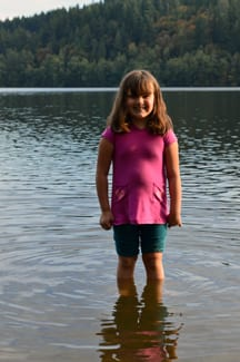 Girl wading in Lake Padden, Bellingham