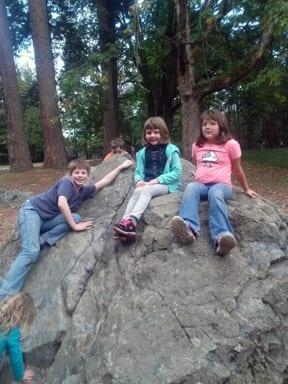 Kids on boulder, Whatcom Falls Park, Bellingham