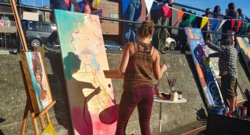 Artist demonstration, Downtown Bellingham Art Walk