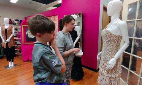 "Examining the ""pasta dress"" at Social Fabric, Downtown Bellingham Art Walk"