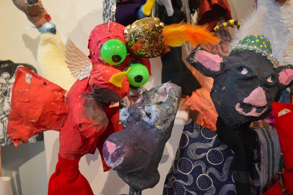 Puppets displayed at Children's Art Walk, Bellingham