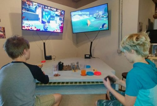 Boys play video games at Best Buds Gaming Lounge, Fairhaven