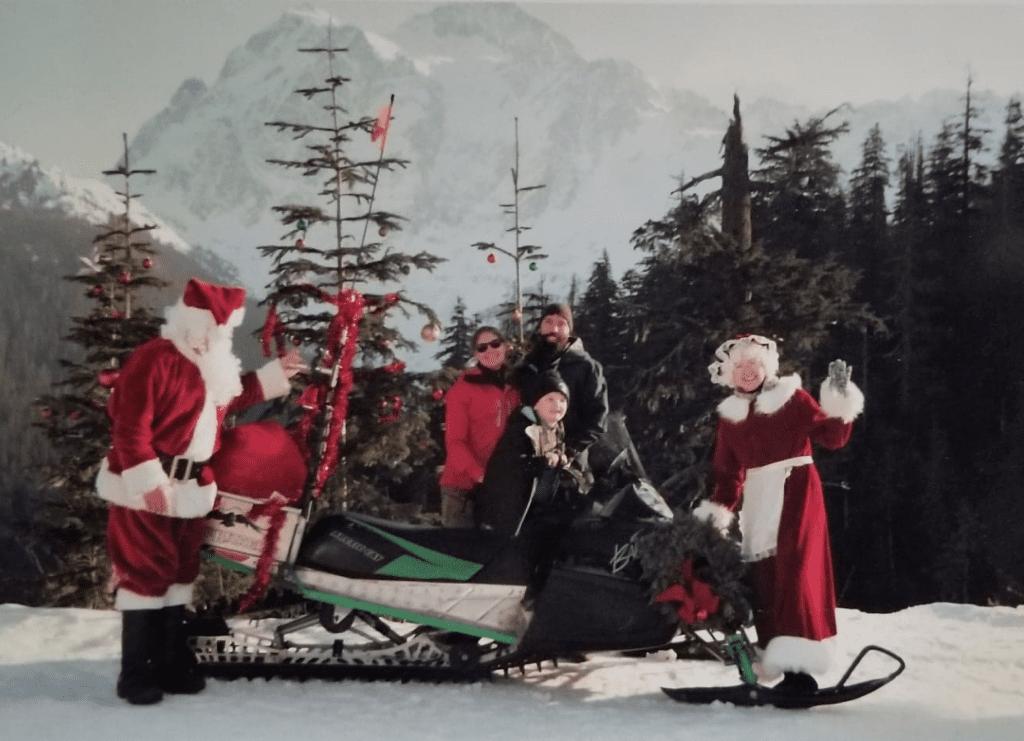 family Santa photo at Mt. Baker Ski Area