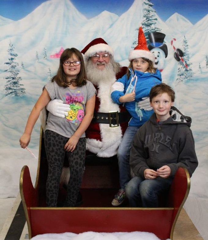 Kids with Santa at Yeager's Sporting Goods in Bellingham