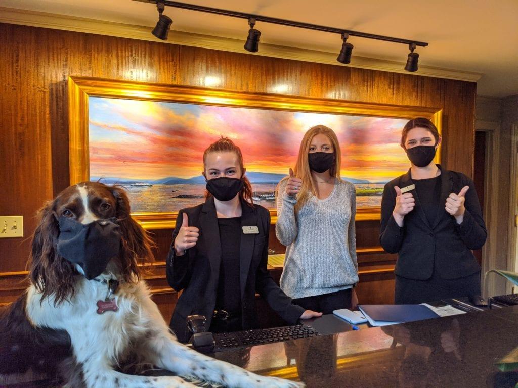 Masks At Bellingham Hotels Hotel Bellwether Front Desk