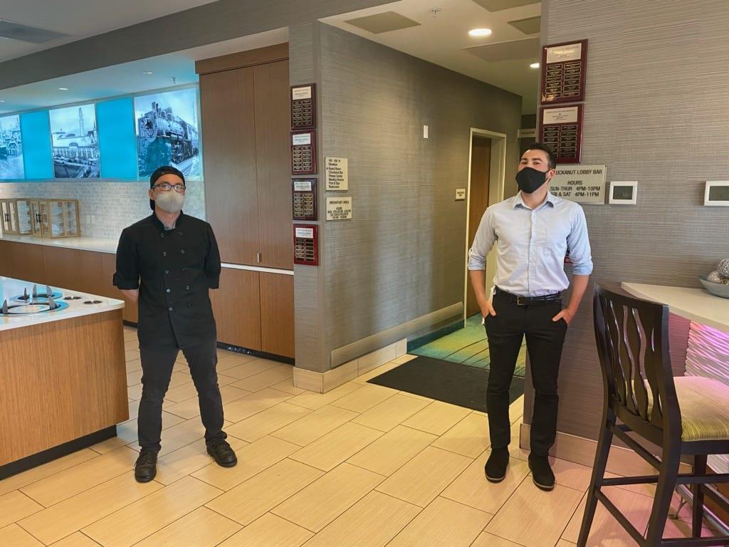 Springhill Suites staff wearing masks demonstrate social distancing (2)