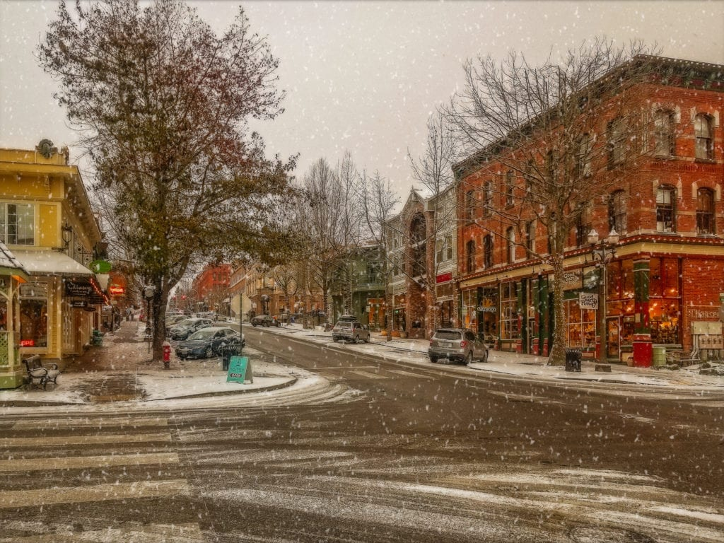 Fairhaven District In The Winter With Snow Bellingham Washington